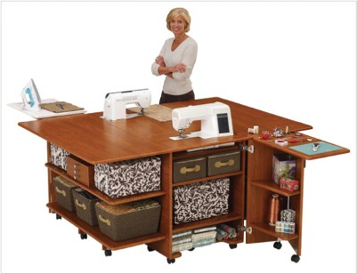 Woman with large sewing machine table